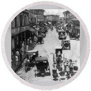 Manilla - Philippine Islands - Escolta Street Scene - C 1901 Round Beach Towel