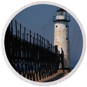 Manistee Harbor Lighthouse And Cat Walk Round Beach Towel