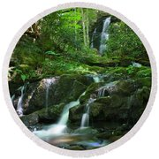 Mannis Branch Falls Round Beach Towel