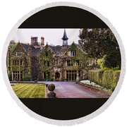 Manor House At Castle Combe  Round Beach Towel