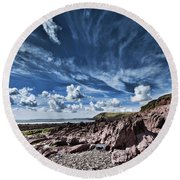 Manorbier Rocks Big Sky Round Beach Towel