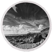 Manorbier Rocks Round Beach Towel
