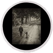 Man's Best Friend Round Beach Towel