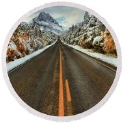 Many Glacier Road Round Beach Towel