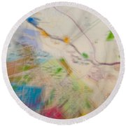 Map Abstract 2 Round Beach Towel