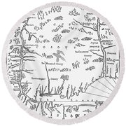 Map: Connecticut, 1661 Round Beach Towel