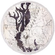 Map: Mississippi River, 1874 Round Beach Towel
