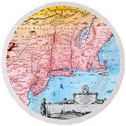 Map Of New Netherland, 1650s Round Beach Towel