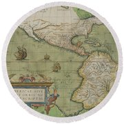 Map Of North And South America Round Beach Towel