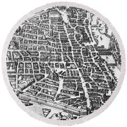 Map Of Paris Round Beach Towel by German School