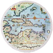 Map Of The Caribbean Islands And The American State Of Florida Round Beach Towel