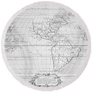 Map Of The New World 1587 Round Beach Towel