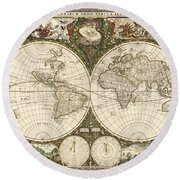 Map Of The World, 1660 Round Beach Towel