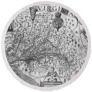 Map Of Virginia, 1624 Round Beach Towel