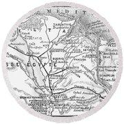 Map: Suez Canal, 1869 Round Beach Towel