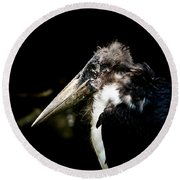 Marabou Stork Round Beach Towel