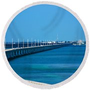 Marathon And The 7mile Bridge In The Florida Keys Round Beach Towel