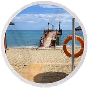 Marbella Beach In Spain Round Beach Towel