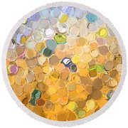 Marble Collection I Abstract Round Beach Towel