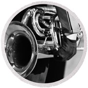 Marching Band Horn Bw Round Beach Towel