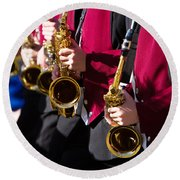 Marching Band Saxophones Cropped Round Beach Towel