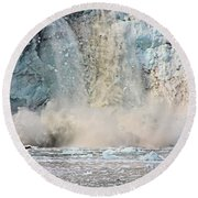 Margerie Glacier Calving Round Beach Towel