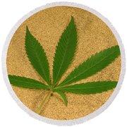 Marijuana Leaf Round Beach Towel
