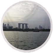 Marina Bay Sands And Flyer Along With Singapore Skyline From The Round Beach Towel