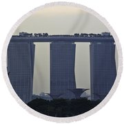 Marina Bay Sands As Seen From The Harbor Cruise Round Beach Towel