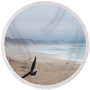 Marina Beach Fly By In The Mist Round Beach Towel