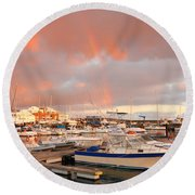 Marina In The Azores Round Beach Towel