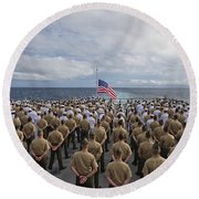 Marines And Sailors Stand In Formation Round Beach Towel