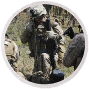 Marines Communicate With Other Elements Round Beach Towel