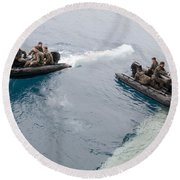 Marines Depart The Well Deck Round Beach Towel