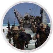 Marines Disembark A Landing Craft Round Beach Towel