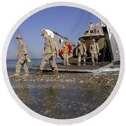 Marines Disembark From A Landing Craft Round Beach Towel