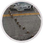 Marines Embark A Ch-46e Sea Stallion Round Beach Towel