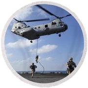 Marines Fast Rope From A Ch-46e Sea Round Beach Towel