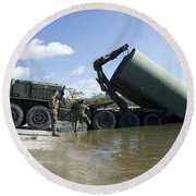 Marines Lower An Improved Ribbon Bridge Round Beach Towel