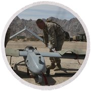 Marines Move An Rq-7 Shadow Unmanned Round Beach Towel