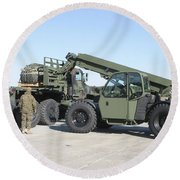 Marines Pick Up Palletized Logistics Round Beach Towel