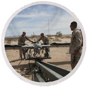 Marines Place An Rq-7 Shadow Unmanned Round Beach Towel