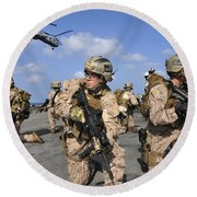 Marines Position Themselves Round Beach Towel
