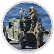 Marines Provide Security Aboard Round Beach Towel