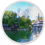 Mark Twain Riverboat At Disneyland Round Beach Towel