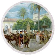 Market Day In Spain Round Beach Towel