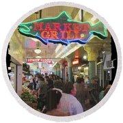 Market Grill 3 Round Beach Towel