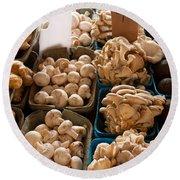 Market Mushrooms Round Beach Towel