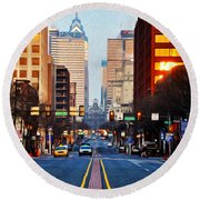 Market Street In The Morning Round Beach Towel