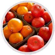 Market Tomatoes Round Beach Towel by Lauri Novak